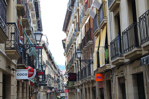 Pretty street in the old town of San Sebastian