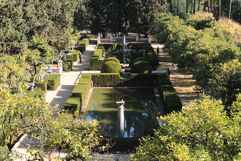 Beautiful gardens in the Alcazar of Seville
